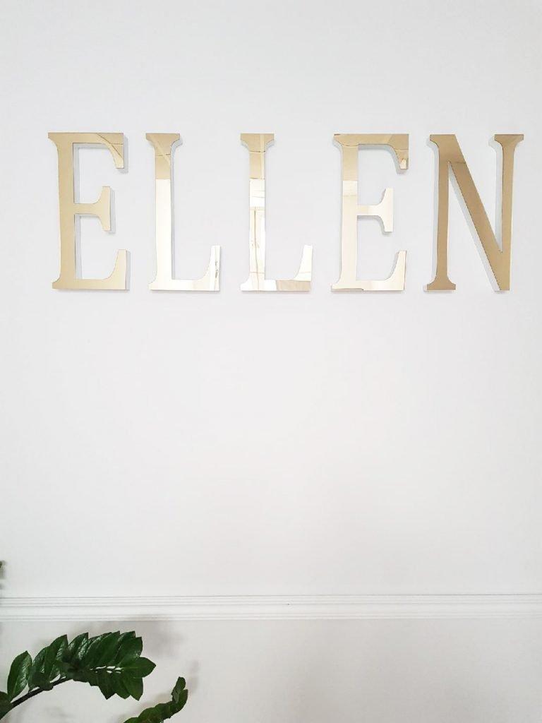 litery przestrzenne kolor lustrzany złoty