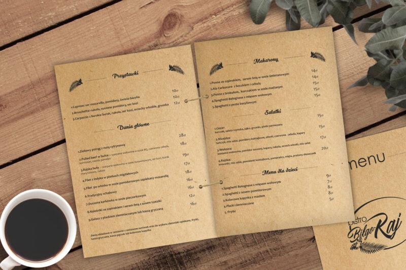 menu restauracji na papierze eko