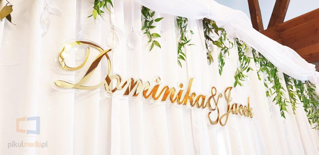 złoty napis weselny