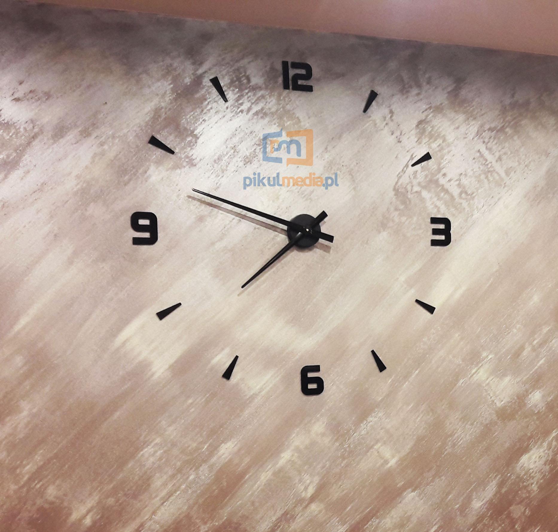 Przyklejany zegarek 3d na ścianę